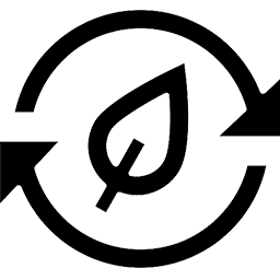 Icon with leaf and two arrows revolving around it
